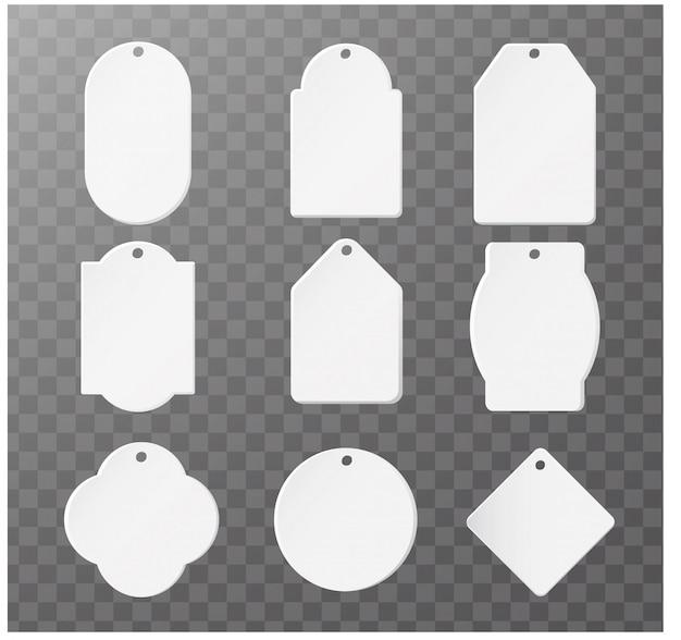 Etiqueta de papel em branco ou coleção isolada de tag