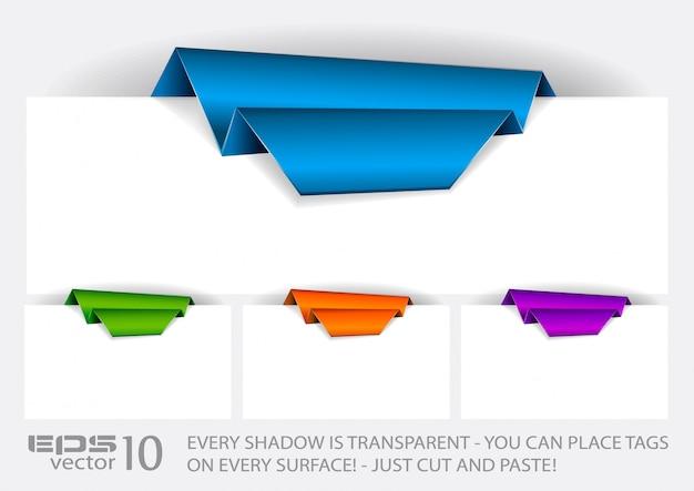 Etiqueta de papel origami com sombras transparentes.