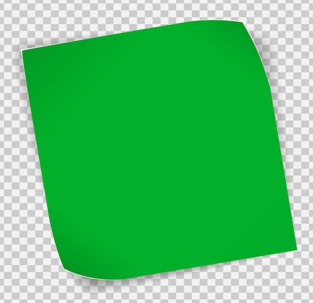Etiqueta de papel verde sobre fundo transparente