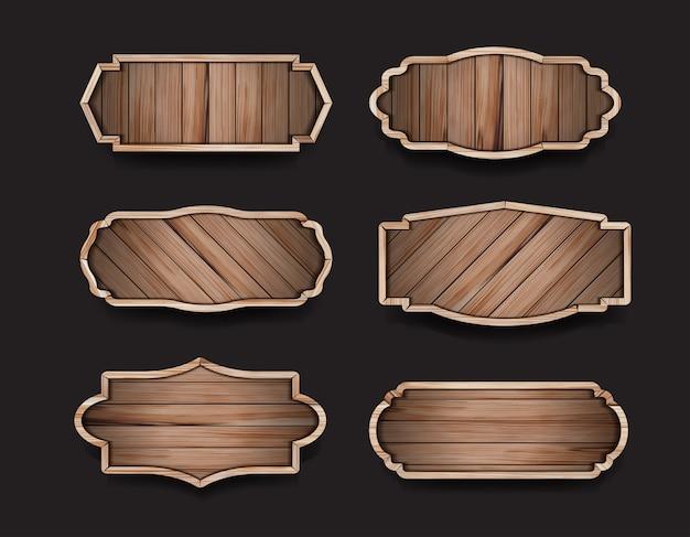 Etiqueta de placas de sinal de madeira