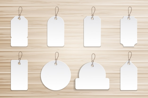 Etiqueta de preço de coleção na placa de madeira