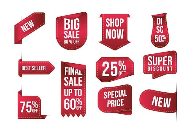 Etiqueta de preço de fita vermelha