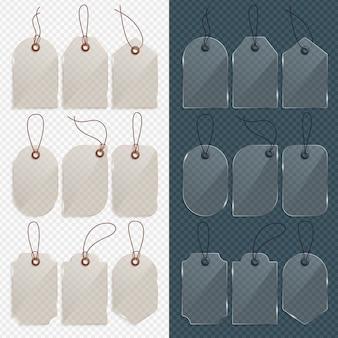 Etiqueta de preço de vidro realista. etiqueta de vidro, etiquetas de venda de papel