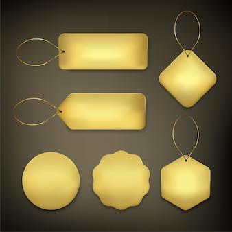 Etiqueta de preço definida cor ouro em fundo preto