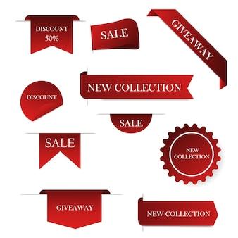 Etiqueta de preço e melhor venda, coleção de modelos.