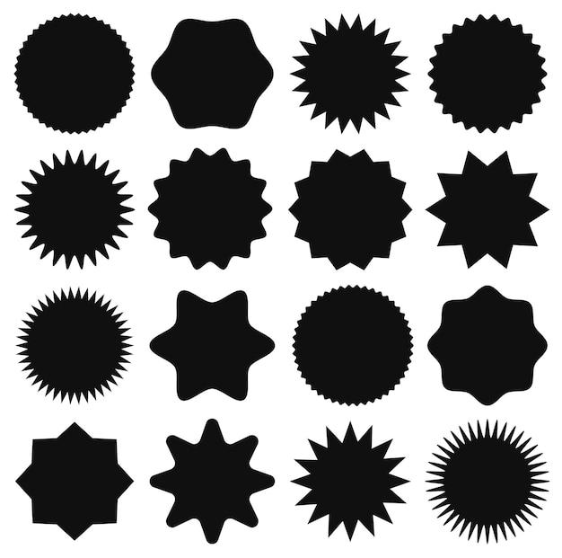 Etiqueta de preço em formato de estrela, anunciando emblemas de venda da etiqueta starburst