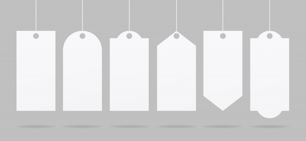 Etiqueta de preço realista. conjunto de marca de venda. vetor de maquete de etiqueta de preço de papel em branco. vetor de maquete isolado. modelo de design. realista.