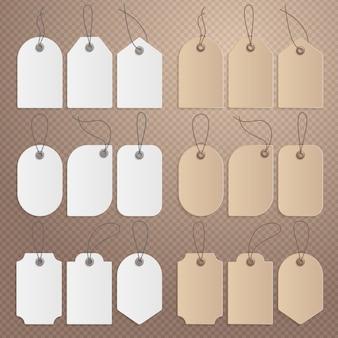 Etiqueta de preço realista. etiqueta de papelão, etiquetas de venda de papel