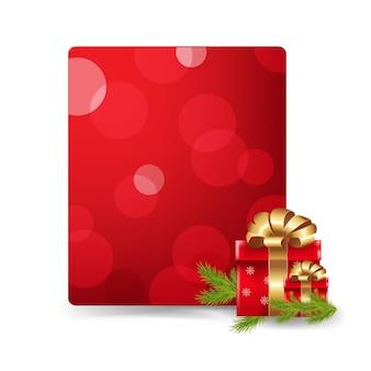 Etiqueta de presente e caixa de presente em branco vermelha