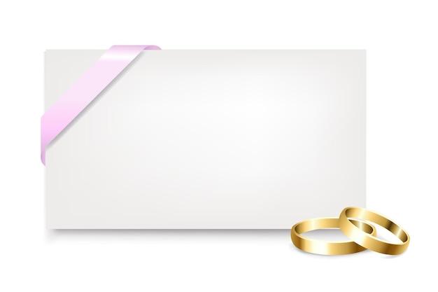 Etiqueta de presente em branco com anéis de casamento