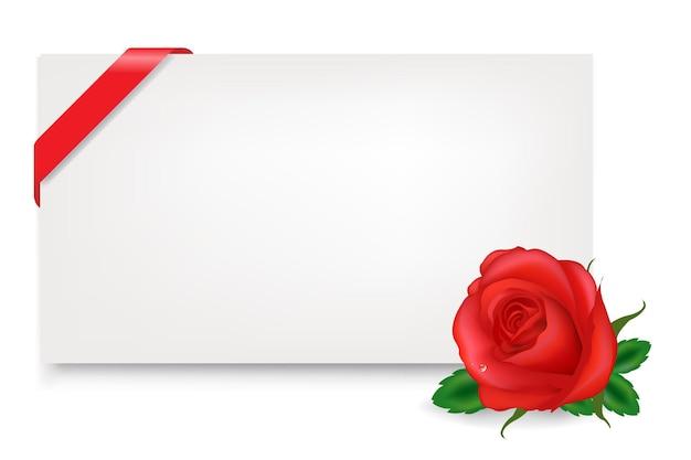 Etiqueta de presente em branco com rosa