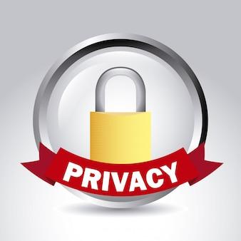 Etiqueta de privacidade sobre ilustração vetorial de fundo cinza
