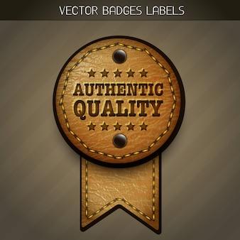 Etiqueta de qualidade de couro autêntica