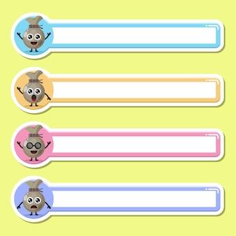 Etiqueta de saco de dinheiro com nome tag personagem fofa mascote