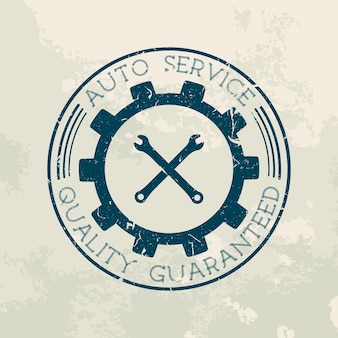 Etiqueta de serviço de conserto de automóveis de estilo retro