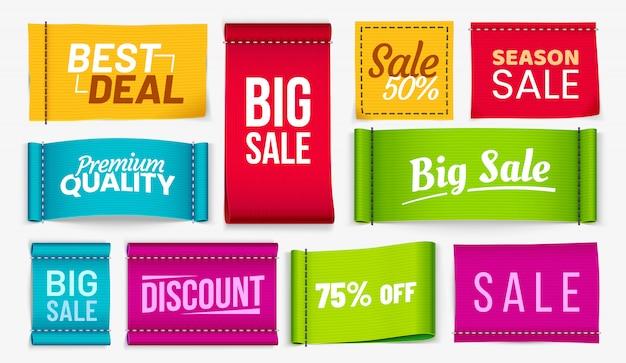 Etiqueta de tecido com desconto, etiqueta de tecidos de cupons melhor negócio e temporada venda têxtil etiquetas conjunto realista vector