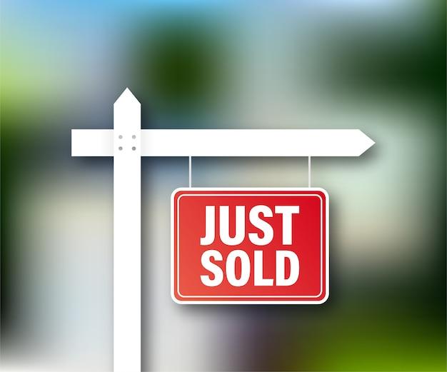 Etiqueta de venda. acabei de vender a placa para design de marketing