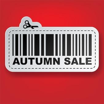 Etiqueta de venda com ilustração de código de barras e tesoura