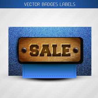 Etiqueta de venda de couro e jeans