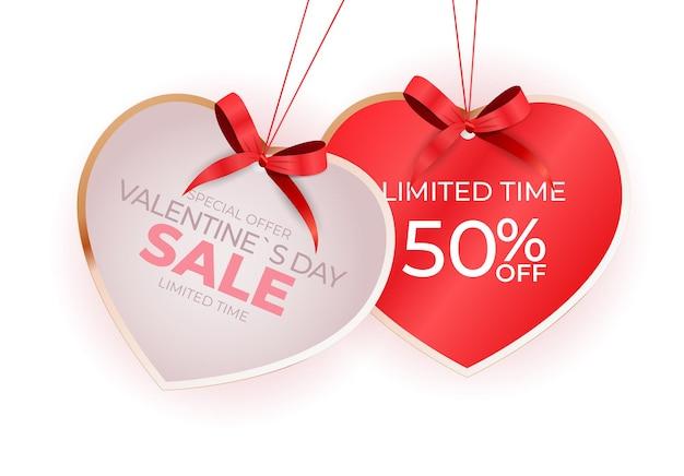 Etiqueta de venda de dia dos namorados coração com laço