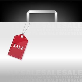 Etiqueta de venda de preço vermelho no saco de compras branco