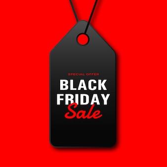 Etiqueta de venda de sexta-feira preta com corda