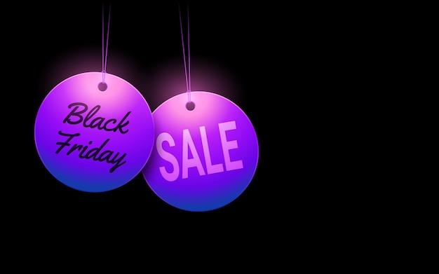 Etiqueta de venda de sexta-feira preta em círculo pendurado com fundo de cor de luz de néon