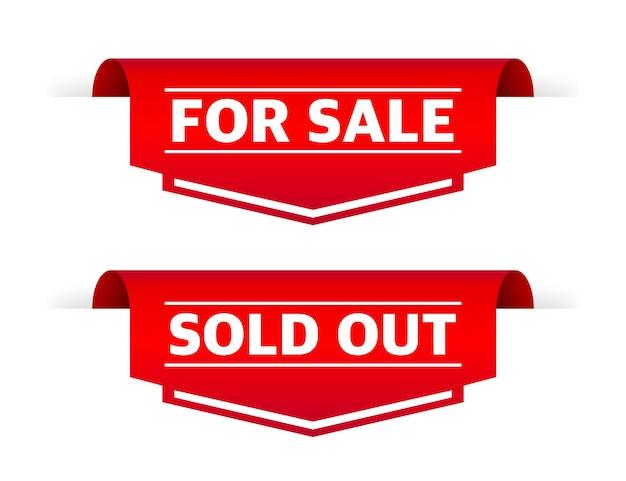 Etiqueta de venda esgotada em fundo branco banner da web com desconto banner do site de venda
