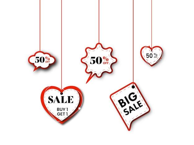 Etiqueta de venda ou etiqueta, adesivo de coração pendurar com oferta de desconto de 50% no fundo preto.