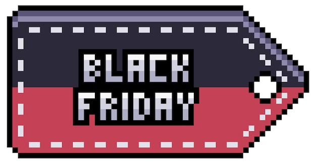 Etiqueta de venda, preço e desconto de pixel art preto sexta-feira. item de bit