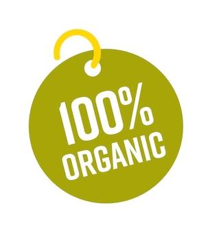 Etiqueta de venda redonda de produto ecológico 100 por cento orgânico