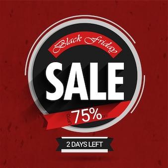 Etiqueta de venda sexta-feira preta em cor cinza e vermelha com até 75% de oferta.