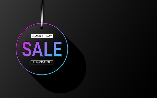 Etiqueta de venda texto 3d em círculo efeito de cor de luz de néon