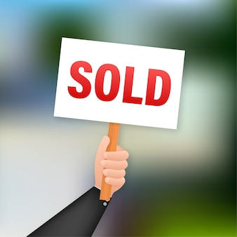 Etiqueta de venda. vendeu sinal para design de marketing