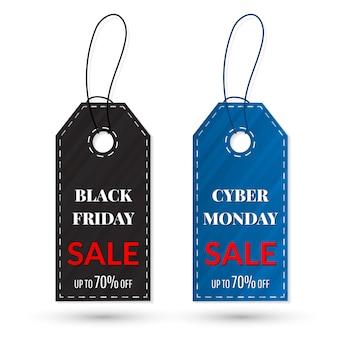 Etiqueta de vendas black friday e cyber monday