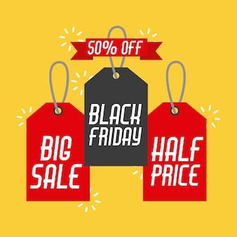 Etiqueta de vendas e banners de sexta feira preta e etiqueta de preço