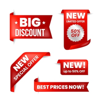 Etiqueta de vendas realista na coleção vermelha e branca