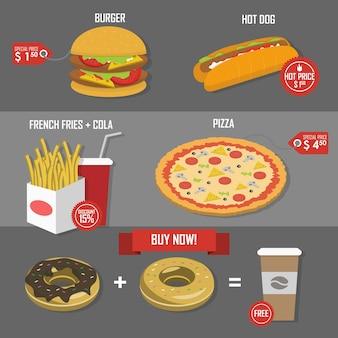 Etiqueta de vetor de pôster de definição de preço de fast food