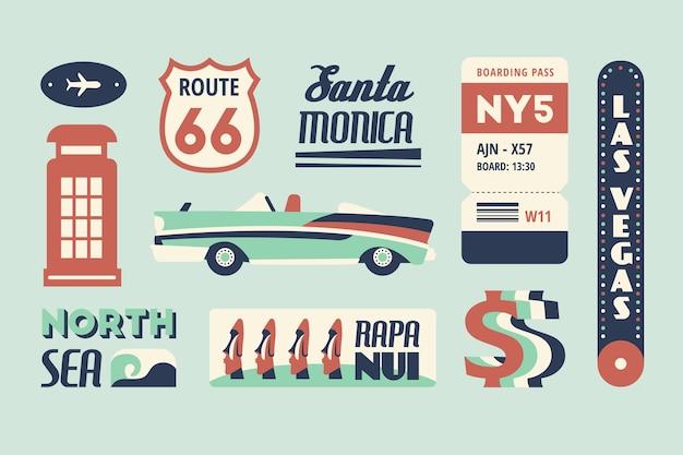 Etiqueta de viagem definida no estilo dos anos 70