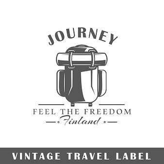 Etiqueta de viagem em fundo branco. elemento. modelo de logotipo, sinalização, branding. ilustração