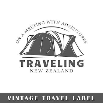 Etiqueta de viagem isolada no fundo branco