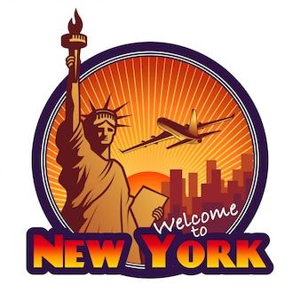 Etiqueta de viagens desenhada, nova york