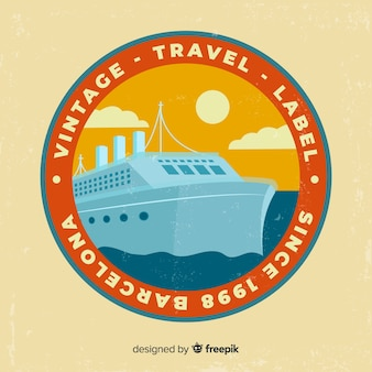 Etiqueta de viagens vintage design plano