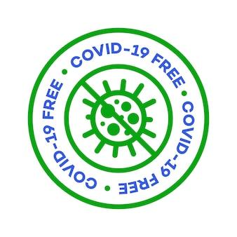 Etiqueta de zona livre de covid para coronavírus epidêmico covid ficar em casa ficar seguro design de pôster próprio