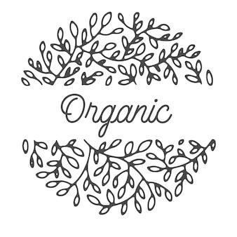 Etiqueta decorativa com ramos florais e texto de caligrafia, círculo isolado com inscrição. flor e problemas ambientais, design de marca minimalista. flora ecológica exuberante, vetor em estilo simples