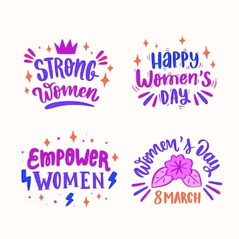 Etiqueta desenhada à mão para o dia internacional da mulher