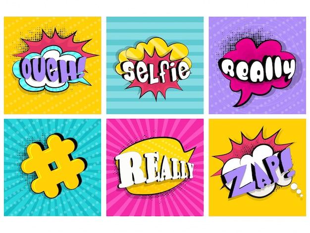 Etiqueta, desenho animado, fala, boom, diálogo