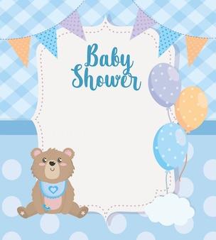 Etiqueta do banner de festa com ursinho de pelúcia e balões