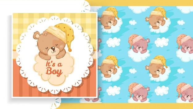 Etiqueta do banner de festa com ursinho de pelúcia