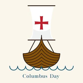 Etiqueta do barco do dia de colombus